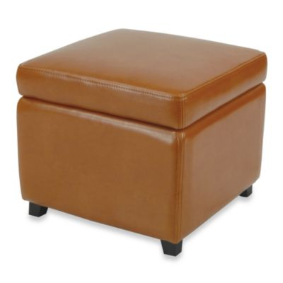Safavieh Hudson Leather Jonathan Storage Ottoman in Saddle