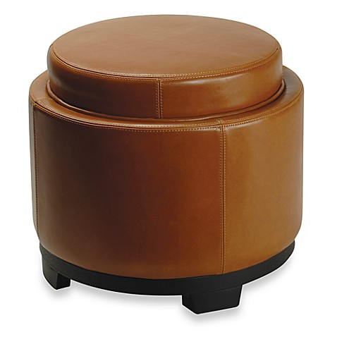 Safavieh Hudson Leather Round Tray Ottoman in Saddle