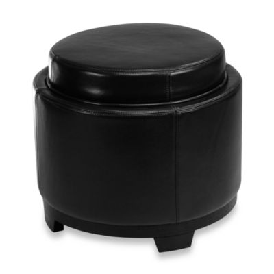 Safavieh Hudson Leather Round Tray Ottoman in Black