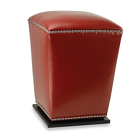 Safavieh Hudson Leather Mason Ottoman in Red (Set of 2)
