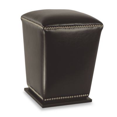 Safavieh Hudson Leather Mason Ottoman in Black (Set of 2)