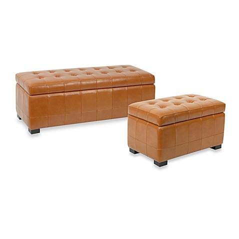 Safavieh Hudson Leather Small Manhattan Storage Bench - Saddle