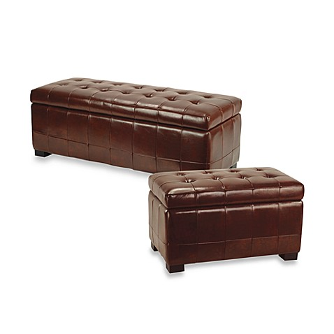 Safavieh Hudson Leather Small Manhattan Storage Bench - Cordovan