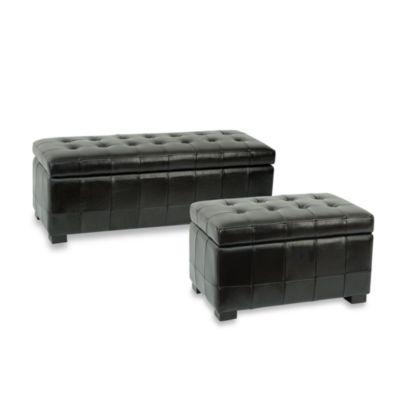 Safavieh Hudson Leather Small Manhattan Storage Bench - Black
