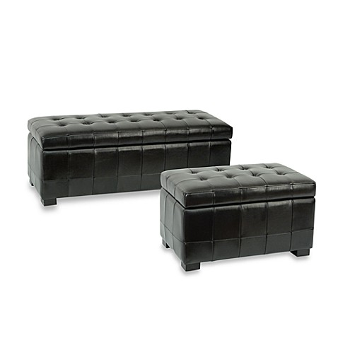 Safavieh Hudson Leather Small Manhattan Storage Bench - Black