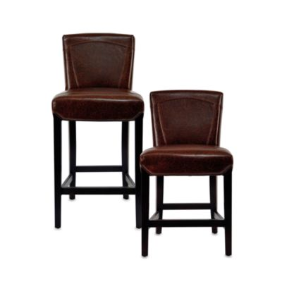 Safavieh Hudson Leather Ken Stool in Brown