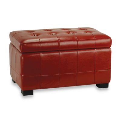 Safavieh Hudson Leather Small Manhattan Storage Bench - Red