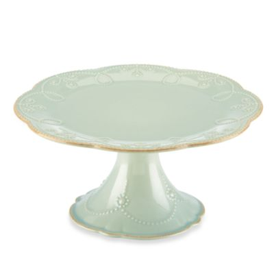 Lenox® French Perle 8.5-Inch Medium Pedestal Cake Plate in Ice Blue
