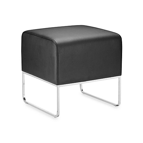Zuo® Modern Plush Ottoman in Black