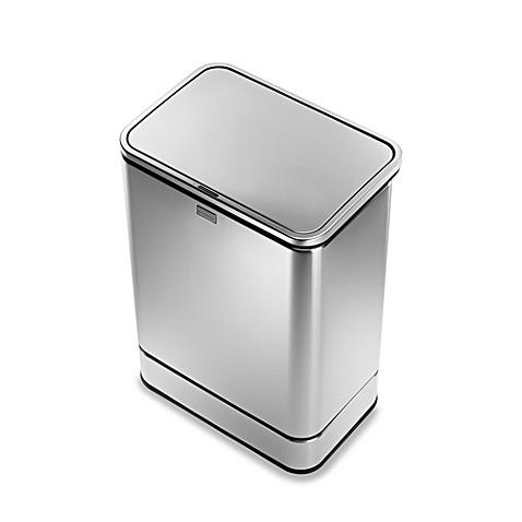 simplehuman brushed stainless steel fingerprint proof rectangular 40 liter sensor trash can. Black Bedroom Furniture Sets. Home Design Ideas