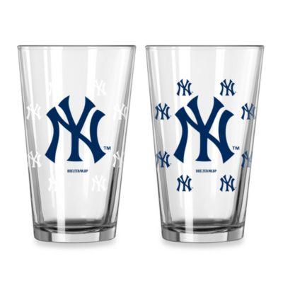 MLB New York Yankees Color Changing Pint Glasses (Set of 2)
