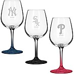 Satin Etched MLB Team Logo Wine Glasses (Set of 2)