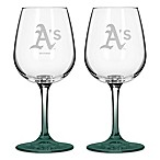 Satin Etched MLB Oakland Athletics Wine Glasses (Set of 2)