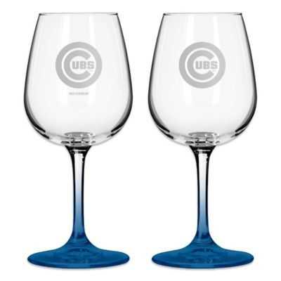 Satin Etched MLB Chicago Cubs Wine Glasses (Set of 2)