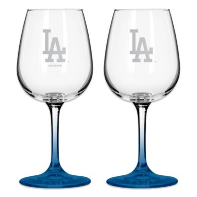 Satin Etched MLB Los Angeles Dodgers Wine Glasses (Set of 2)