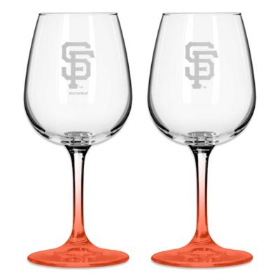 Satin Etched MLB San Francisco Giants Wine Glasses (Set of 2)