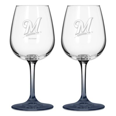 Satin Etched MLB Milwaukee Brewers Modern Logo Wine Glasses (Set of 2)