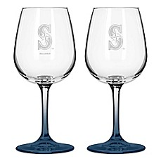 Satin Etched MLB Seattle Mariners Wine Glasses (Set of 2)