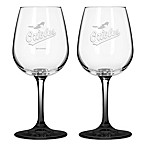 Satin Etched MLB Baltimore Orioles Wine Glasses (Set of 2)
