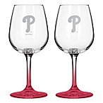 Satin Etched MLB Philadelphia Phillies Wine Glasses (Set of 2)