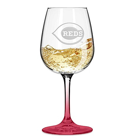 Satin Etched MLB Cincinnati Reds Wine Glasses (Set of 2)