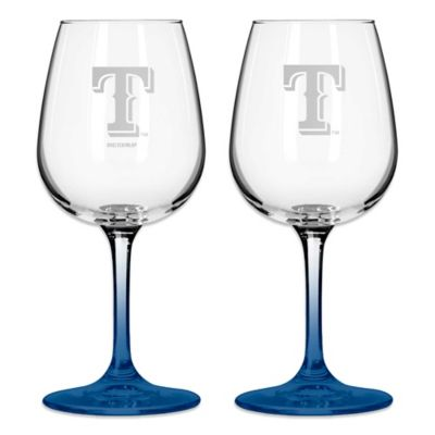 Satin Etched MLB Texas Rangers Wine Glasses (Set of 2)