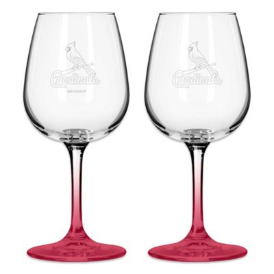 Satin Etched MLB St. Louis Cardinals Wine Glasses (Set of 2)