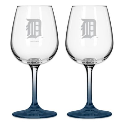 Satin Etched MLB Detroit Tigers Wine Glasses (Set of 2)
