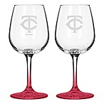 Satin Etched MLB Minnesota Twins Wine Glasses (Set of 2)