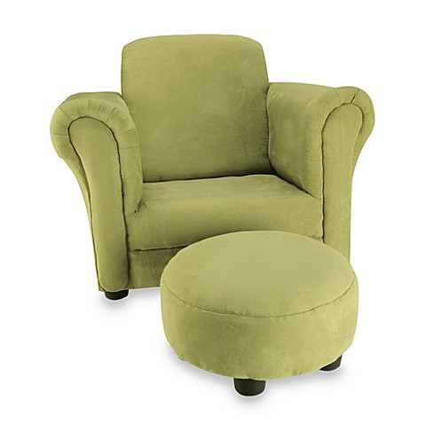 Velour Stuffed Children's Chair and Ottoman - Avocado
