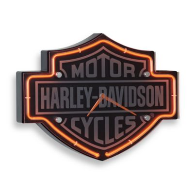 Harley-Davidson® Etched Bar & Shield Shape Neon Clock