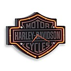 Harley-Davidson Etched Bar & Shield Shape Neon Clock