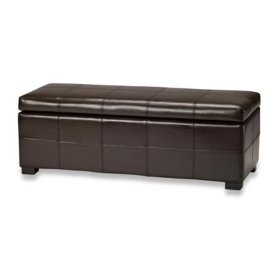 Safavieh Hudson Leather Madison Large Storage Ottoman in Brown