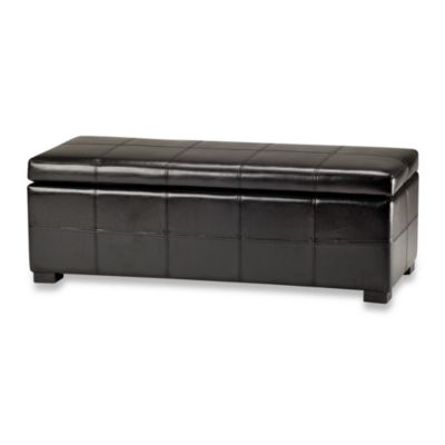 Safavieh Hudson Leather Madison Large Storage Ottoman in Black