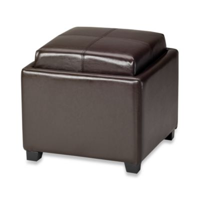Safavieh Hudson Leather Harrison Single Tray Ottoman in Brown