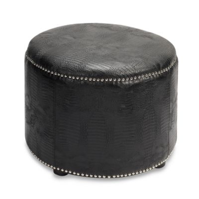 Safavieh Hudson Leather Hogan Ottoman in Black Smooth Leather