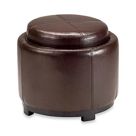 Safavieh Hudson Leather Chelsea Round Tray Ottoman Www