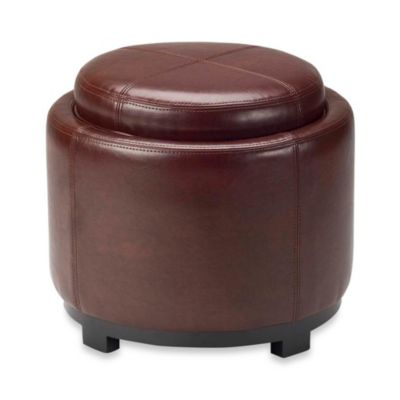 Safavieh Hudson Leather Chelsea Round Tray Ottoman in Cordovan