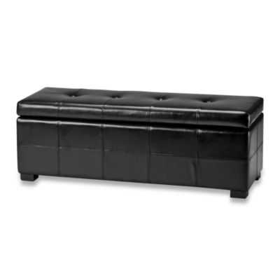 Safavieh Hudson Leather Maiden Tufted Large Storage Ottoman in Black