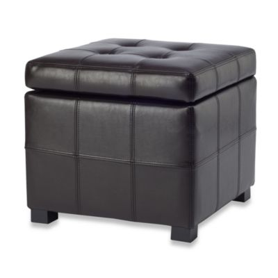 Safavieh Hudson Leather Maiden Square Tufted Ottoman in Brown