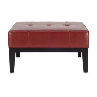 Safavieh Hudson Leather Fulton Small Square Cocktail Ottoman in Red