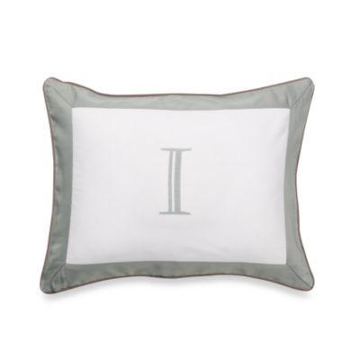 "Ampersand® Colorblock Eucalyptus Monogrammed Letter ""I"" Toss Pillow"