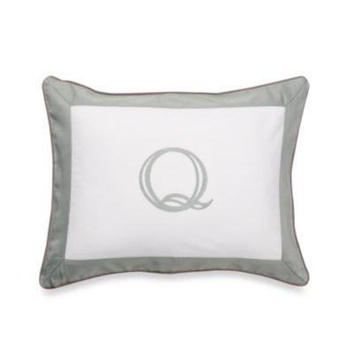 Ampersand® Colorblock Eucalyptus Monogrammed Letter "Q" Toss Pillow
