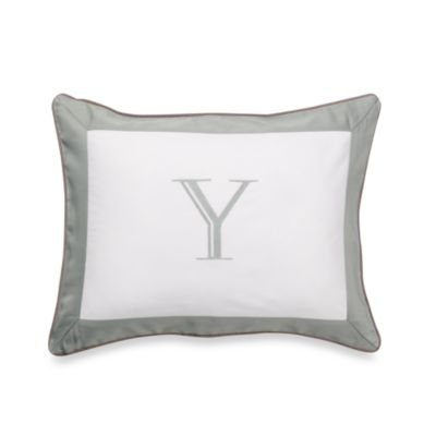 "Ampersand® Colorblock Eucalyptus Monogrammed Letter ""Y"" Toss Pillow"
