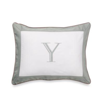 Ampersand® Colorblock Eucalyptus Monogrammed Letter "Y" Toss Pillow