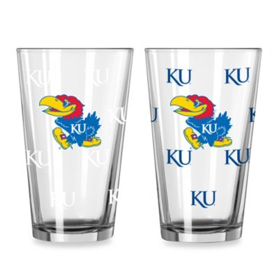 University of Kansas Color Changing 16-Ounce Pint Glasses (Set of 2)