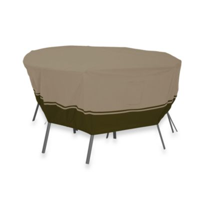 Classic Accessories® Villa Large Round Patio Table & Chair Set Cover in Tan