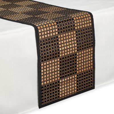 Bamboo Black Checkered 72-Inch Runner
