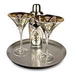 Brocade 4-Piece Martini Set with Tray