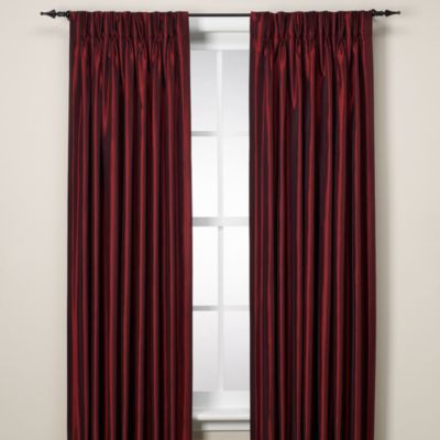 Argentina Pinch Pleat Panel Back Tab Interlined 63-Inch Window Curtain in Crimson